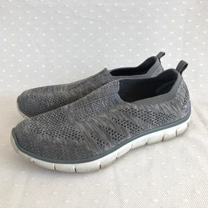 Skechers Gray Fabric Loafers Air Cooled Mem. Foam